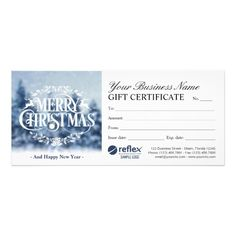 Merry Christmas Holiday Gift Certificates Template