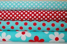 Aqua & Red Fabrics for Mackie's Birthday