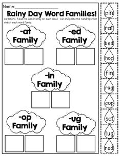 Rainy Day Word Families (make a match) Word Work Stations, Reading Stations, Literacy Stations, Literacy Centers, Kindergarten Language Arts, Kindergarten Literacy, Preschool, Word Family Activities, Work Activities