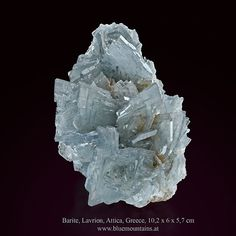 Barite Location: No145, Plaka mines area, Lavrion, Attica, Greece size: 10,2 x 6 x 5,7 cm available at  www.bluemountains.at  This specimen has beautiful, sharp, highly lustrous and translucent crystal groups of light blue-gray barite. Individual barite crystals are up to 25 mm long. This is a very aesthetic specimen with no visible damage, except for where the specimen was extracted from the rock. Attica Greece, The Rock, Light Blue, Rocks, Size 10, Gray, Crystals, Instagram Posts, Beautiful