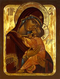 Theotokos with Child... The tenderness displayed in this icon is beautiful <3