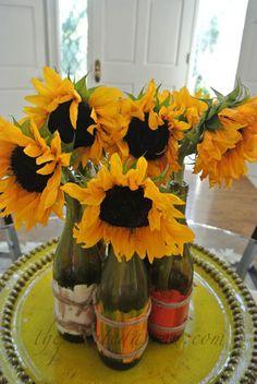 sunflower centerpiece thepaintedapron.com