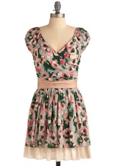 Flowers for Your Apartment Dress - Multi, Green, Blue, Tan / Cream, Floral, Pleats, Ruffles, Casual, A-line, Cap Sleeves, Spring, Summer, Pink, Mid-length