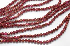 """Agate Mosaic Beads, Agate in Resin Ruby Red Round Beads 6mm 15"""" STRAND Red, Gold Vein"""