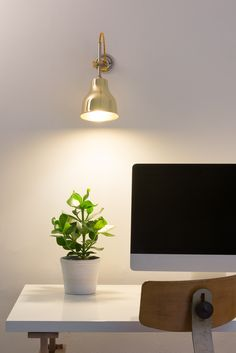 MK3 Wall Light with Polished Brass shade - perfect as a task lamp over your desk | Artifact Lighting Ltd