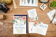 Wedding Invitation & RSVP set- Ranunculus Watercolor Flowers- Deposit for Prints-Watercolor Wedding-Rustic Chic FeatheredHeartPrints
