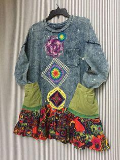 RESERVED Colorful Boho Hippie Sweatshirt Tunic Wearable