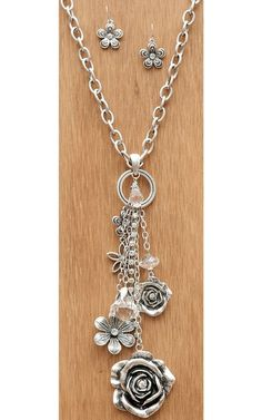 Silver Chain with Flowers & Crystals Dangle Necklace