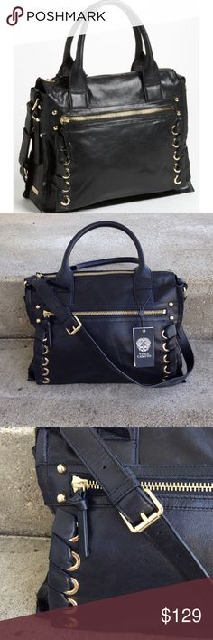 """Vince Camuto """"Mica"""" leather satchel Vince Camuto Mica leather satchel. Leather ribbons lash the front grommeted pocket of a street smart satchel. Rolled handles pair with an adjustable strap for easy carry. Top zip closure, exterior zip pocket, interior zip, wall and cell phone Pockets, logo Jacquard lining. 100% leather. Dimensions: 13 1/2"""" W by 10 1/2"""" H by 4"""" D,  strap drop 5"""" , shoulder strap drop 10"""" to 12"""" A couple small scuff due to storing. Vince Camuto Bags Satchels"""
