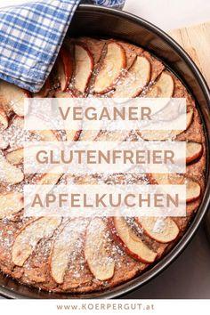 Der himmlisch-zimtig duftende Apfelkuchen ist nicht nur vegan, sondern  auch glutenfrei. Durch die Verwendung von Buchweizenmehl wird er  besonders aromatisch und schmeckt verfeinert mit Kokosjoghurt und feinem  Apfelmus einfach herrlich. Der Apfelkuchen ist schnell zubereitet und  bringt eine Duftkomposition von saftigen Äpfeln und Zimt in deine  Küche.#backen #apfelkuchen #rezept #vegan #glutenfrei #schnelleküche Apple Pie, Camembert Cheese, Bread, Desserts, Food, Coconut Yogurt, Gluten Free Apple Pie, Cinnamon, Tailgate Desserts