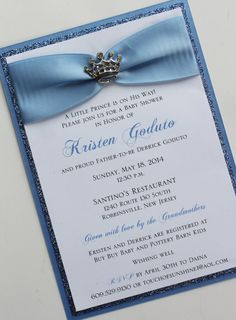 Blue Baby Prince Baby Shower Invitation with by atouchofsunshine4