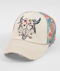 6164d1cf3fc71 Junk Gypsy Floral Skull Baseball Hat - Women s Hats in Cream