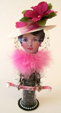 Altered Art Doll from a Light Bulb You Light Up My by NoRulesArt. SOLD