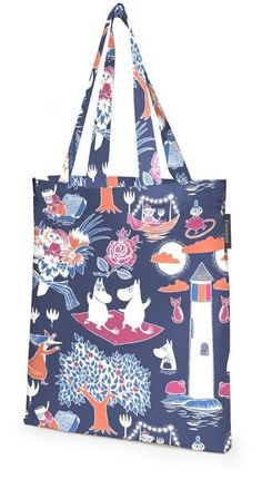The Magic Moomin (Finnish: Taikamuumi) contains a touch of magic. The Moomin characters are enjoying their night by the dark blue sea. Magic Moomin is an origin Tove Jansson, Moomin Shop, Handmade Paint, Blue Magic, Cotton Bag, Go Shopping, Pattern Fashion, Purses And Bags, Dark Blue