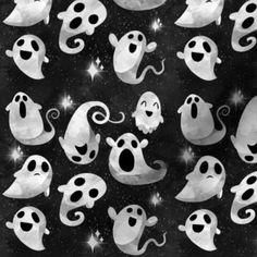 Kawaii Halloween, Halloween Ghosts, Spooky Halloween, Halloween Plates, Halloween Wallpaper Cute, Halloween Backgrounds, Funny Phone Wallpaper, Fall Wallpaper, Fabric Wallpaper