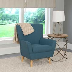 CorLiving Demi Retro Inspired Wood, Linen Fabric, and Foam Club Chair (Green) Club Chairs, Dining Chairs, Adirondack Chair Plans, Comfortable Accent Chairs, Accent Chairs Under 100, Chair Bed, Living Room Seating, Furniture, Home Decor