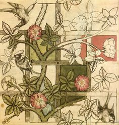 William Morris 'Trellis' Wallpaper, 1862. Featuring natural beauty and subtle colouring, common during the Arts & Crafts movement.