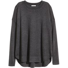 H&M Jumper in a wool blend ($26) ❤ liked on Polyvore featuring tops, sweaters, shirts, long sleeves, dark grey, dark grey sweater, extra long sleeve shirts, h&m sweater, h&m tops and long sleeve jumper