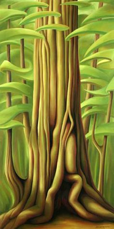 Dana Irving - Cheewhat Giant 30 x 60 2009 oil on canvas Tree Illustration, Landscape Illustration, Landscape Art, Book Illustrations, Surrealism Painting, Canadian Art, Wow Art, Folk, Leaf Art