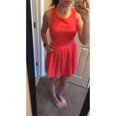 "Coral Lace Dress - NWT Super cute coral dress has cut outs on either side and an open back. Perfect for summer and the warm weather!! I'm 5'4"" for reference. Only selling because I have no where to wear it. ❌No Trades 🔵 Please use offer button to submit an offer! Dresses"