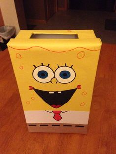 Valentines Card Holder, Valentine Boxes For School, Valentines For Boys, Valentine Day Crafts, Diy Valentine's Box, Spongebob, Valentine's Day Diy, Diy For Kids, Pinterest Craft