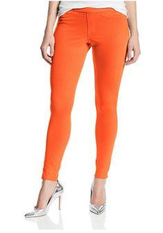 HUE U13360 The Original Jeans Solid Color Leggings in Flame, Size L