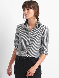 Gap Womens Embellished-Collar Stripe Boyfriend Shirt Black Stripe