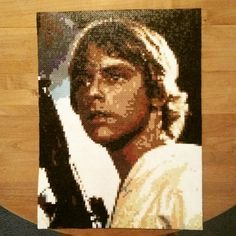 """Luke Skywalker - Star Wars perler pixel art (87 beads wide, 116 long - 16"""" x 22"""") by JakeJekel37"""