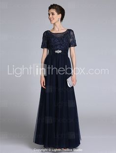 2017 Lanting Bride® Sheath / Column Mother of the Bride Dress Floor-length Short Sleeve Chiffon / Lace with Appliques 2017 - €97.01