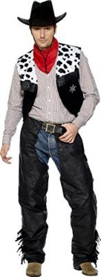 Smiffys Mens Cowboy Leather Costume with Chaps Waistcoat Belt and Neckerchief Tag someone you think would look good in this! #Cowboy #Halloween #Costume