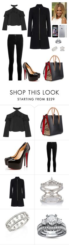 """Untitled #764"" by mtbcastro-goncalves ❤ liked on Polyvore featuring Alice + Olivia, Christian Louboutin, J Brand, French Connection, Deborah Pagani and De Beers"