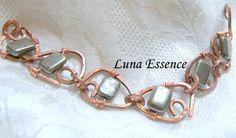 Pyrite Copper Hand Shaped Hammered  Bracelet by LunaEssence, $48.00
