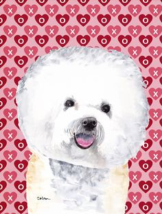 Bichon Frise Hearts Love and Valentine's Day Portrait 2-Sided Garden Flag