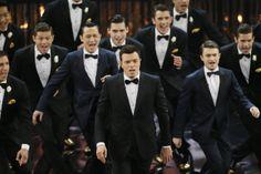 Host Seth MacFarlane, with Daniel Radcliffe, Joseph Gordon-Levitt and Alex Wong performing at the Oscars 2013.