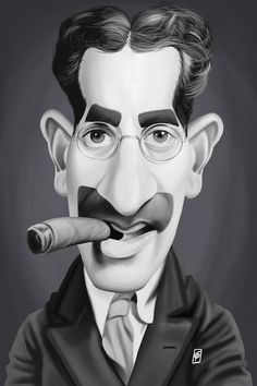 East Urban Home 'Vintage Celebrity Sunday Series: Groucho Marx' Graphic Art Print on Canvas Size: Groucho Marx, Funny Caricatures, Celebrity Caricatures, Celebrity Drawings, Canvas Artwork, Canvas Art Prints, Rob Snow, Snow Artist, Pop Art