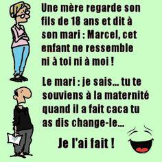 Une #mère regarde son #fils de 18 ans et dit à son #mari : Marcel cet #enfant ne ressemble ni à toi ni à moi ! le mari : je sais tu te souviens à la #maternité quand il a fait #caca tu as dis change-le , je l'ai fait !!! #humour #drole #blague #rigoler #blagues #marrant #blaguer #lol #mdr
