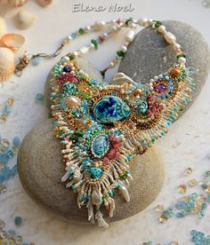 Necklace coral reef and fish 24K gold beads gems.  by ElenNoel