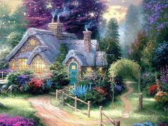 """""""Gardens Beyond Spring Gate"""" by Thomas Kinkade Fantasy Landscape, Landscape Art, Landscape Paintings, Oil Paintings, Paintings Famous, Thomas Kinkade Art, Thomas Kinkade Disney, Beautiful Paintings, Beautiful Landscapes"""