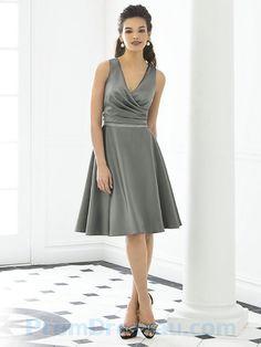 Deep V Neck Sexy a Line Ruched Knee Length Grey Bridesmaid Dress
