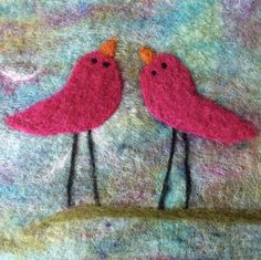Felt Picture Fibre Art Love Birds