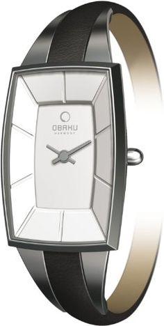 Obaku Women's V120LCIRB  Slim Black Leather Tonneau Watch -