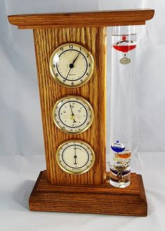 Handmade Weather Station in Red Oak with Clock, Thermometer and Hygrometer