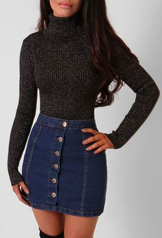 Fashion outfits casual outfits Nice 45 Stylish Denim Skirt Outfits Ideas To Makes You Look Stunning Denim Skirt Outfits, Denim Mini Skirt, Mini Skirts, Jean Skirts, Outfits With Jean Skirt, Button Up Skirt Outfit, Black Denim Skirt Outfit Winter, Black Turtleneck Outfit Winter, Sweater With Skirt