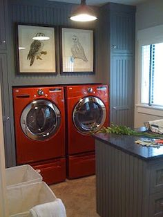 laundry room - love the grey and red