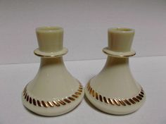 Wheatonware Vintage Custard Glass Candlesticks Holders with Gold Gilt from saltymaggie on Ruby Lane