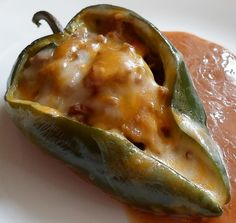 beef enchilada stuffed pablano peppers...