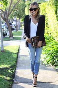 Jeans, blazer, white t shirt, accessories.