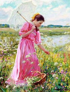 Alexander Nicolajevich Averin ~ Born 1952 in Noginsk, near Moscow. The main theme of Alexander Averin's painting are genre scenes with charming young ladies and children against blossoming meadows and gardens, shady river coasts, and sea landscapes. Russian Painting, Russian Art, Umbrella Art, Images Vintage, Fine Art, Woman Painting, Beautiful Paintings, Female Art, Photo Art