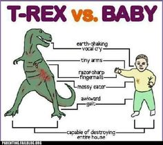 crazy parenting fails - T-Rex vs. Baby