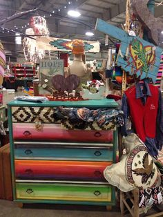 Junk Hippy OKC October 2015 Dresser by @Josie's Closet Vintage repurposed hand painted serape stripe Oklahoma painted furniture #junkhippy